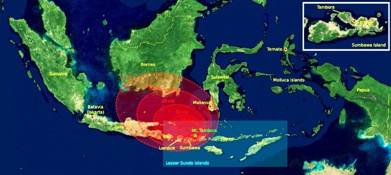 Letak Gunung Tambora Berikut Ilustrasi Explosion