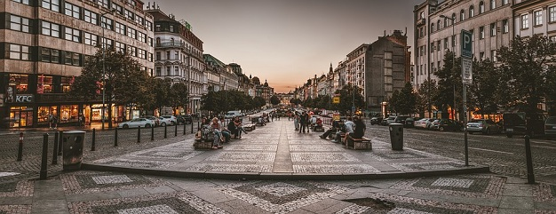 Wenceslas Square is now a bustling strip of boutiques